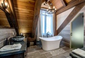 bathroom, lodge, bison, revel stoke, British columbia